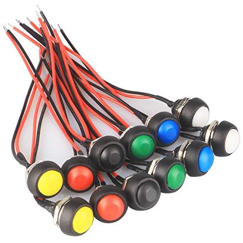 GTIWUNG 12 Piezas Interruptor de Botón Momentáneo con linea, 12mm a Prueba de Agua Lockless Botón Pulsador ON/OFF, Mini Interruptores, 6 Colores, Negro/Blanco/Rojo/Verde/Amarillo/Azul