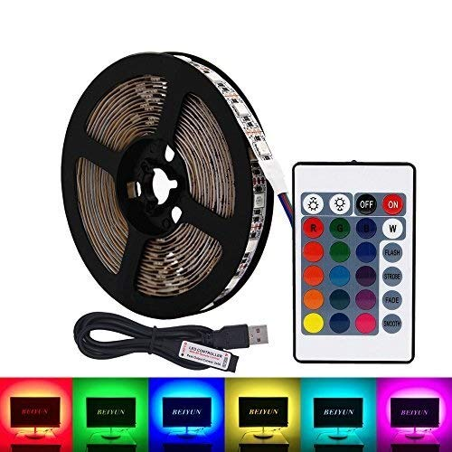 USB RGB LED Strip, DC 5V 5M 60leds / m 5050 Kit de retroiluminación LED Flat LCD PC de escritorio TV LED Luz de fondo con control remoto IR de 24 teclas, luces decorativas for fiestas de bricolaje - N