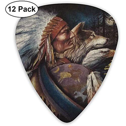 Vintage Native American Wolf Plektren Set 12 Ukulelen-Plektren, einschließlich 0,46 mm, 0,71 mm, 0,96 mm Plektrum und Plektrum-Box