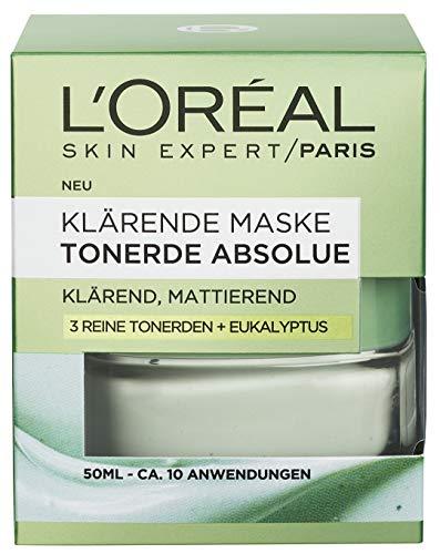 L'Oréal Paris Tonerde Absolue Klärende Maske, Gesichtsmaske mit reiner Tonerde und Eukalyptus, klärt die Haut, entfernt Unreinheiten und verfeinert die Poren, 50ml