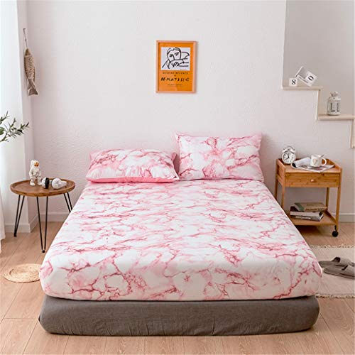 OMGPFR Marbling Mattress Protector, Polyester Fiber European style Modern Classic Isolated Dirty Non-slip Dust Cover for Bedroom Hotel Home Decoration Available in 4 Sizes,Pink,138 * 190 * 35CM