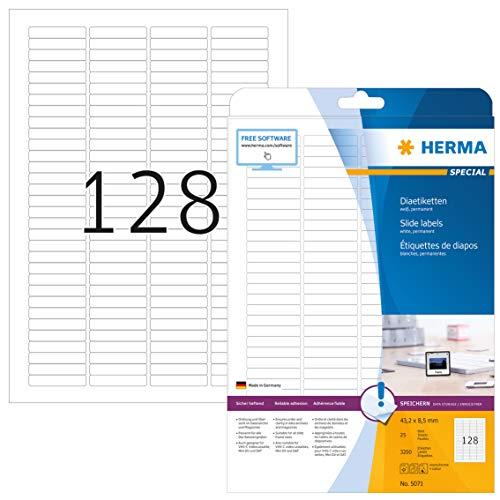 HERMA 5071 Dia Etiketten DIN A4 (43,2 x 8,5 mm, 25 Blatt, Papier, matt) selbstklebend, bedruckbar, permanent haftende Diarahmen-Aufkleber, 3.200 Klebeetiketten, weiß