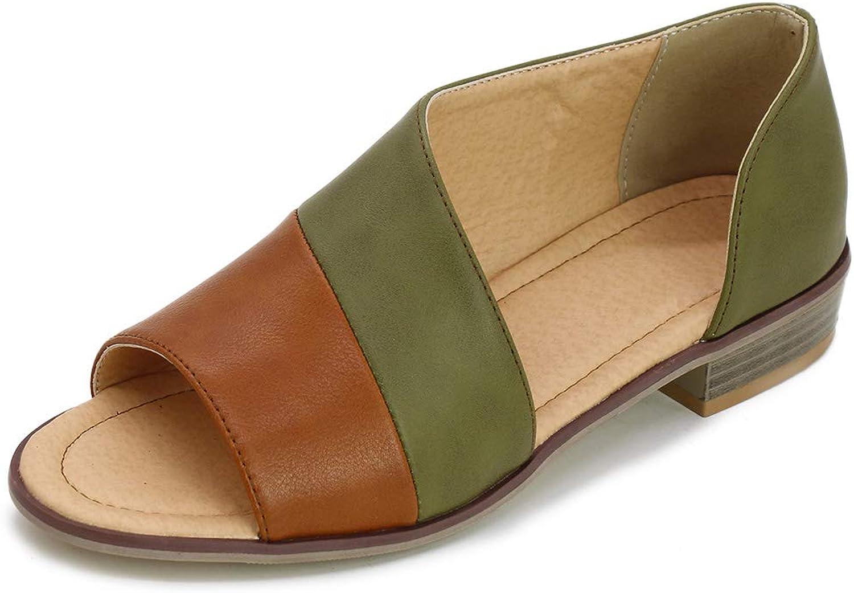 SaraIris Women's Flat Heel Asymmetrical D'Orsay Sandal Open Toe Cut Out Low Heel shoes