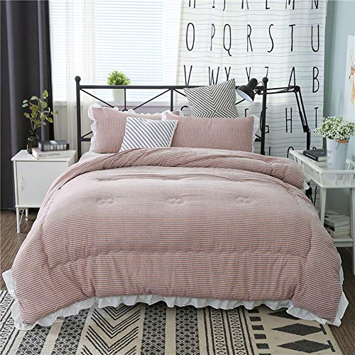 JXING Winter Duvet Washed Cotton Fabric Anti-allergy Down Filled Core Super Soft Cosy Breathable Warm Single Double Quilt, Suitable for Home Use