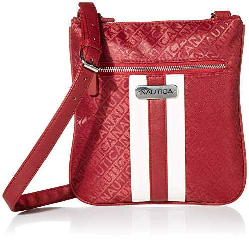 Nautica womens Lakeside Signature Jaquard North South Crossbody Bag Cross Body, Red, One Size US