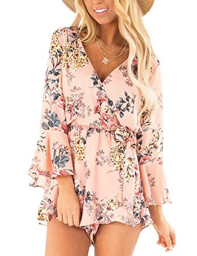 AIMCOO Women's Summer Floral Print Romper Deep V Neck Long Bell Sleeves Elastic Tie Waist Jumpsuits Pink