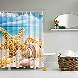 Duschvorhang Antischimmel und Wasserdicht Polyester Seestern Muscheln Strand Badezimmer Duschvorhang mit Haken 120x180cm
