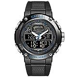 JTTM Hombre Relojes, Al Aire Libre Deportes Multifuncional Analógico Y Digital Deporte Relojes LED Relojes De Pulsera Men Watches,Black Blue