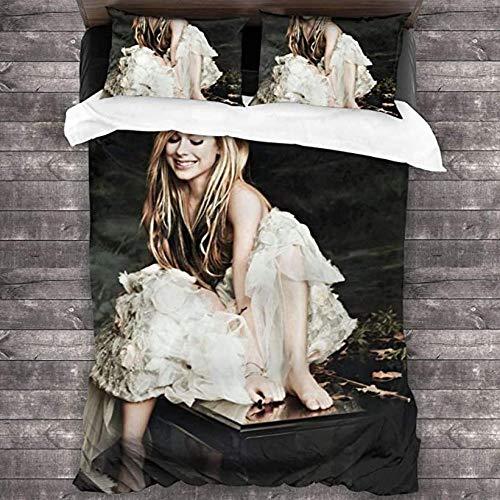 HUA JIE Avril Lavigne Impreso Edredón Moderno Juego de Cama de 3 Piezas Juego de edredón Juego de Funda nórdica Suave y Funda de Almohada para Adulto 1
