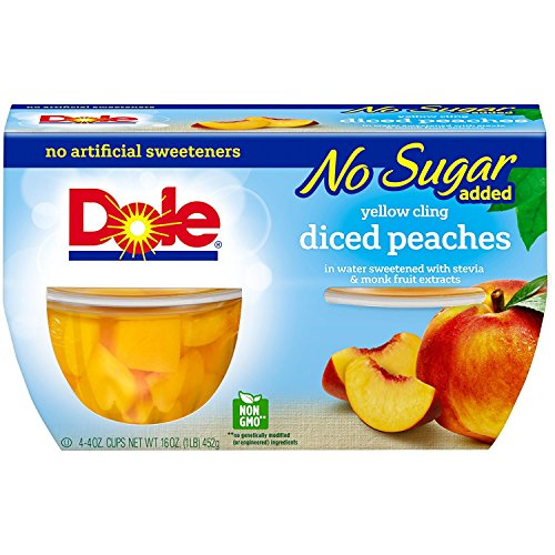 DOLE FRUIT BOWLS No Sugar Added Yellow Cling Diced Peaches 4 Cups 6 Pack