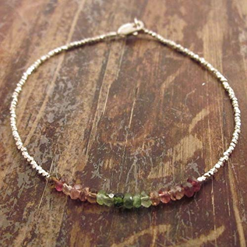 LOVEKUSH 925 Sterling Silver Anxiety Gemstone 2.5mm Multi Colour Watermelon Tourmaline Stracking Bracelet Rondelle, Faceted 18cm for Mens, Womens, GF, BF and Adults.