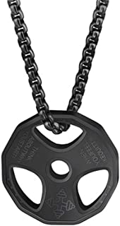 AILUOR Men Women`s Dumbbell Pendant Necklace Stainless Steel Couples Barbell Pendant Fitness Gym Sports Dumbbell Weight Lifters Barbell Chain Jewelry