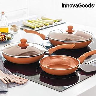 Innovagoods IG813048 Juego De Sartenes Copper-Effect, Cobre
