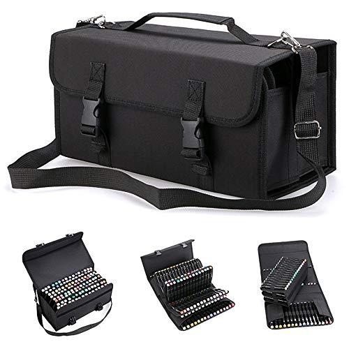 Touchfive Tragbar Markerstift-Tasche Marker Pen Tasche für Stifte für 120er Set Marker Schwarz