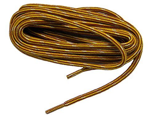 GREATLACES 54 Inch Yellow Gold-Brown Kevlar proTOUGH(TM) Reinforced Heavy Duty Boot Laces Shoelaces -(2 Pair Pack)