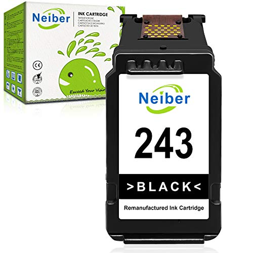 Neiber Remanufactured Ink Cartridge Replacement for Canon PG-243 PG243 243 Black Fit for Pixma MG3022 MG2522 TR4520 TR4522 MG2922 MG2920 TS202 MX492 MX490 iP2820 TS302 MG2520 MG2525 TS3322 Printer