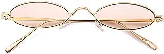 ShSnnwrl Único Gafas de Sol Sunglasses Gafas De Sol De Metal Ovaladas Pequeñas De Moda para Mujer, Gafas De Lente Transparentes N