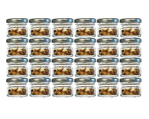 24er Set Sturzgläser Mini Gläser   Füllmenge 30 ml   Deckelfarbe Silber   To 43 Rundgläser Marmeladengläser Obstgläser Einweckgläser Honig Gläser Einmachgläser Probiergläser, Imker