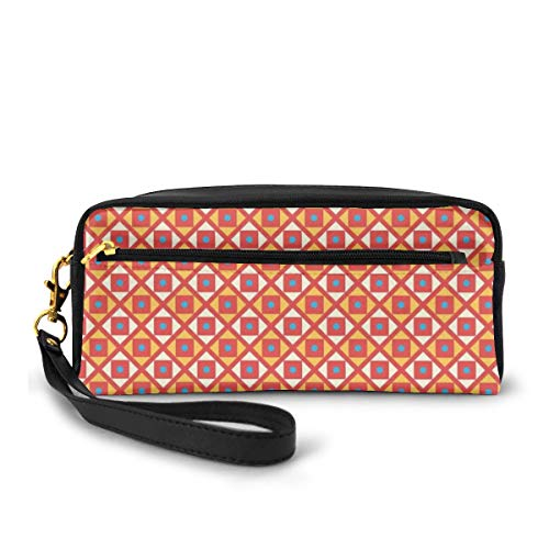 Pencil Case Pen Bag Pouch Stationary,Checked Pattern with Dots in Squares Diagonal Retro Style,Small Makeup Bag Coin Purse