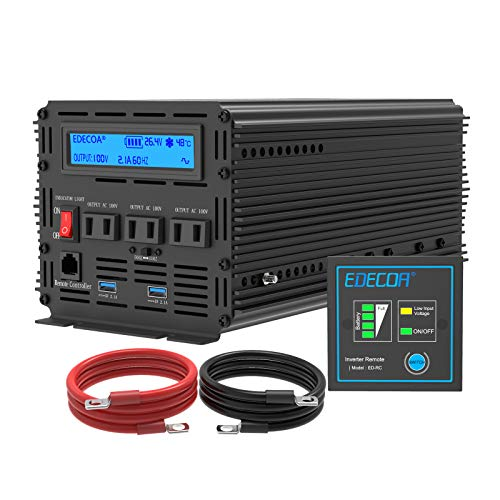 インバーター 24V 2000W DC 24V を100V 110V ACへ変換 50Hz/60Hz LCDディスプレイ及びリモコン搭載 ハンドル24v 電源 2 USB EDECOA PRO