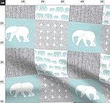 Elefant, Junge, Blau, Quilt Oberseite, Wholecloth Stoffe -