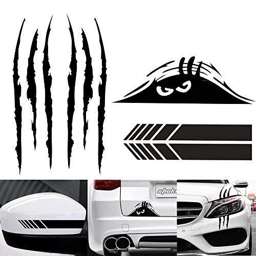 5 piezas de calcomanías para coche, decoración, marca de garra, pegatina reflectante, monstruo, ojo de miedo, pegatina para coche, impermeable, autoadhesivo, vinilo, pegatina para coche (negro)