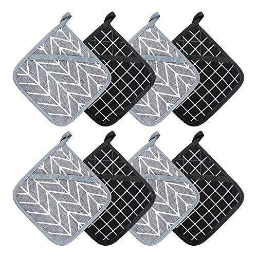 BEATURE Cotton Oven Mitts and Pot Holders for Kitchen Heat Resistant with Hanging Loop, Kitchen Sets & Tabletop Accessories, 8 Packs