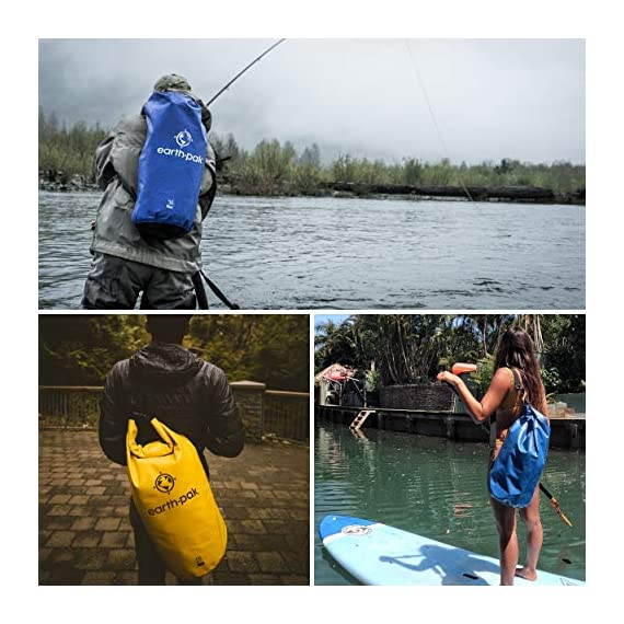 Earth pak -waterproof dry bag - roll top dry compression sack keeps gear dry for kayaking, beach, rafting, boating, hiking, camping and fishing with waterproof phone case 4 reliable protection: we believe our earth pak dry bags are the best out there--bar none. These dry bags are meant to last for years and provide waterproof protection for even the most rugged users. Shoulder strap: 10l & 20l dry bags come with a 24-42 inch single shoulder strap. 30l, 40l, and 55l waterproof backpacks are equipped with backpack style shoulder straps that also come with a sternum strap for added stability. Our new 55l also comes equipped with a heavy duty waist-belt, which relieves added pressure and helps support your load. Ipx8 certified waterproof phone case: we have included our ipx8 certified 6. 5 inch waterproof phone case that will fit even the largest of phones. This case features a very simple snap and lock access that has dual-sided clear windows that allow to take pictures while still inside the case. Suitable for phones up to 6. 5 inches of diagonal screen size.