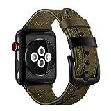 De Galen Correa para Apple Watch 4, 3, 2, Apple Watch 42, de piel, de 4 mm, de 38 mm, de 40 mm, para pulsera de 4 mm de la serie iwatch (color: verde, tamaño: 42 mm o 44 mm)