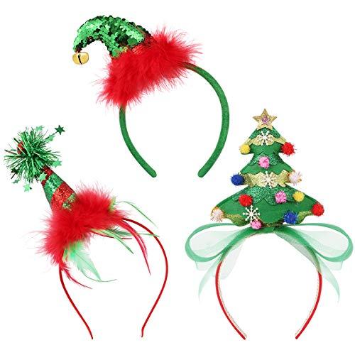 FRCOLOR Weihnachten haarreif Christmas Headband Stirnbänder Bulk elf haarreif Weihnachtsbaum Stirnband für Kinder Erwachsene,3PCs