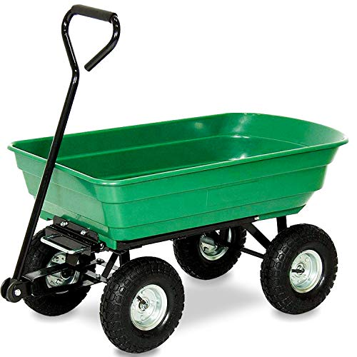 wolketon Profi Gartenwagen, 550 lbs Tragkraft, 75 Liter Kippwagen, Grün kippbar Bollerwagen, Transportwagen mit Lenkachse, Kunststoff Gartenkarre zum Outdoor Transport