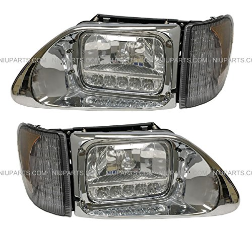 Headlight with Reflector White LED and LED Corner Lamp - Driver & Passenger Side (Fit: International 9200 9400 5900 Truck)