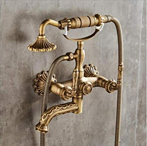 Grifo de bañera montado en la pared de bronce antiguo grifo de la bañera tallada con ducha de mano de baño Ducha Grifos Torneiras, bronce antiguo