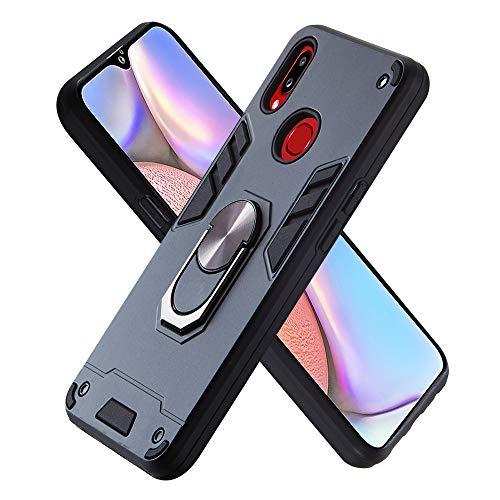 FAWUMAN Hülle für Samsung Galaxy A10S mit Standfunktion, PC + TPU Rüstung Defender Ganzkörperschutz Hard Bumper Silikon Handyhülle stossfest Schutzhülle Case (Schwarz)