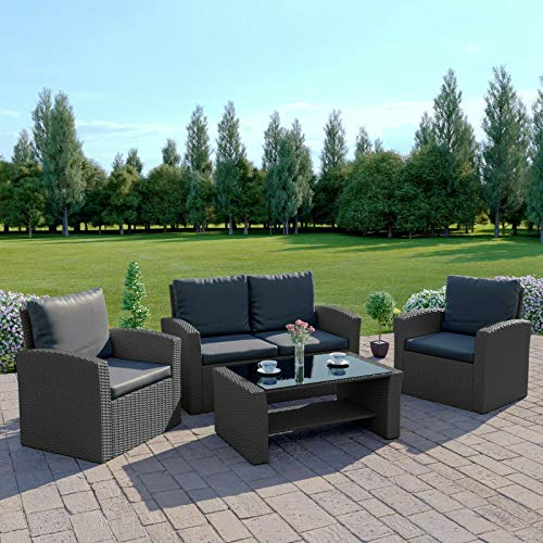 Abreo Rattan Garden Furniture Patio Conservatory New 4 Seater Wicker Weave Algarve Sofa Set (Solid Dark Grey with Dark Cushions)