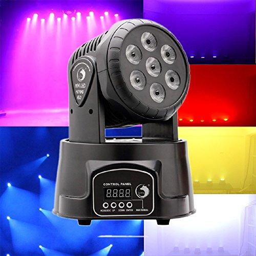 U`King Iluminación de escenario Luz de cabeza móvil 7x10W 4 Color RGBW LED con 4 modo de control para DJ Disco Party Ballroom