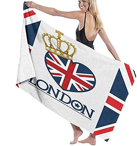 Telo Mare Grande 130 ×80cm, Modello di bandiera lettere Londra,Asciugamano da Spiaggia in Microfibra Asciugatura Rapida,Ultra Morbido,Uomo,Donna,Bambina