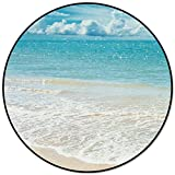 Infinidesign Ocean Themed Round Area Rug Diameter 5ft, Non Woven Fabric Sponge Carpets, Indoor Floor Rugs with Rubber Bottom for Living Room Bedroom Laundry, Blue Sky White Cloud Beach