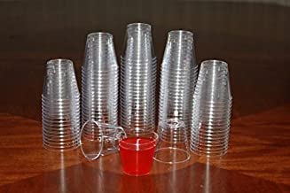Clear Plastic 1 ounce Shot Glasses Cups Disposable Clear Durable Hard Plastic Tasting Sample Shot Glass Whisky Wine Tasting premium quality heavy duty (1000, 1 Ounce)
