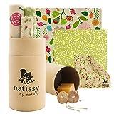 Envoltorio Cera de Abeja para Alimentos, Set de 6 Beeswax Wrap Natural de Tela, Papel Bocadillo Reutilizable, Cubiertas Lavables para Cuenco...