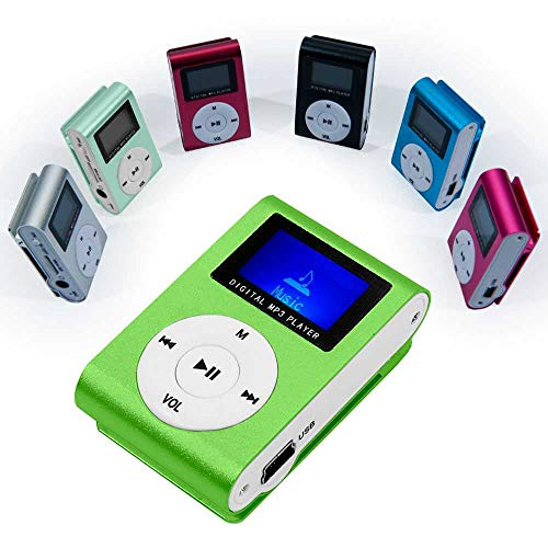 OcioDual Lector Reproductor MP3 Player Verde Aluminio Puerto Mini USB Ranura para Tarjeta Micro SD con Clip Radio FM Pantalla