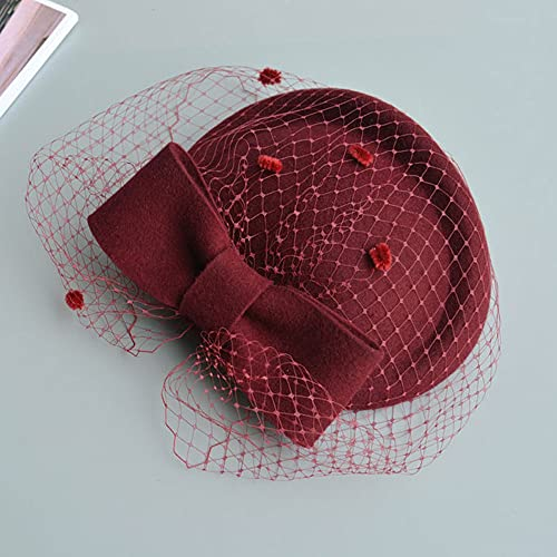 MNMZX Vintage Fancy Schleier Bowknot Wollfilz Hut Frauen Derby Hochzeit Hut Elegante Damen-Kissen-Hut-Party-Hut (Color : C)