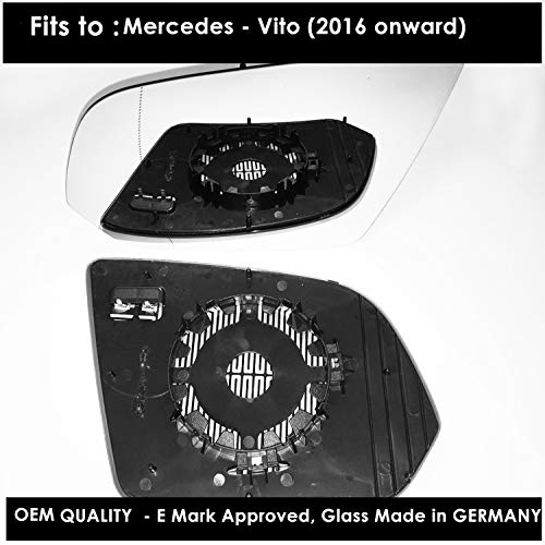 Espejo retrovisor para puerta derecha con placa base (calentada) para MERSD-Vito año 2016 a 2018