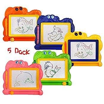 5 Piece Mini Magnetic Drawing Board for Kids - Travel Size Erasable Doodle Board Set - Small Drawing Painting Sketch Pad - Perfect for Kids Art Supplies & Party Favors,Prizes for Kids Classroom
