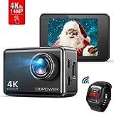 DBPOWER EX7000 Action Camera Touchscreen 4K Ultra-HD 14MP Wi-Fi, Telecamera Sport Impermeabile Fino a 45m, Videocamera con Obiettivo Grandangolare da 170°, Telecomando da 2,4GHz e Kit Accessori