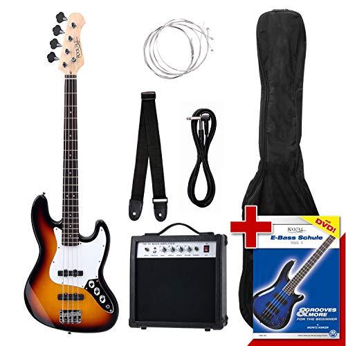 Rocktile Groover's Pack JB E-Bass Komplettset Sunburst (Verstärker, Tasche, Kabel, Gurt, Ersatzsaiten und Schule mit DVD)