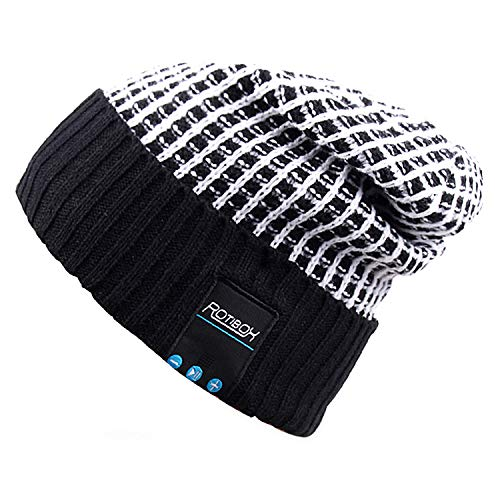 Mydeal Wireless Bluetooth Beanie Hat Cap Dual Knit For Men Women with Stereo Headphones Headsets Earphones Speakers Hands-free Phone Call for Gym Skiing Running Skating Walking,Christmas Gifts - Black