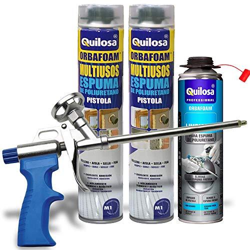 QUILOSA - Set pistola espuma Quilosa Caliber 30 + 2 botes espuma poliuretano Quilosa Orbafoam 750ml + limpiador espuma poliuretano Quilosa 500ml