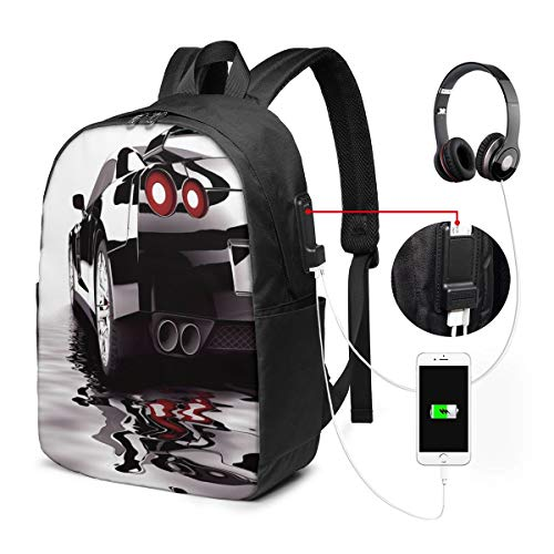 Modern Black Car with Water Reflection Prestige Fast Engine Performance Lifestyle Laptop Backpack Business Travel Backpack with USB Charging Port & Headphone Interface for College Student