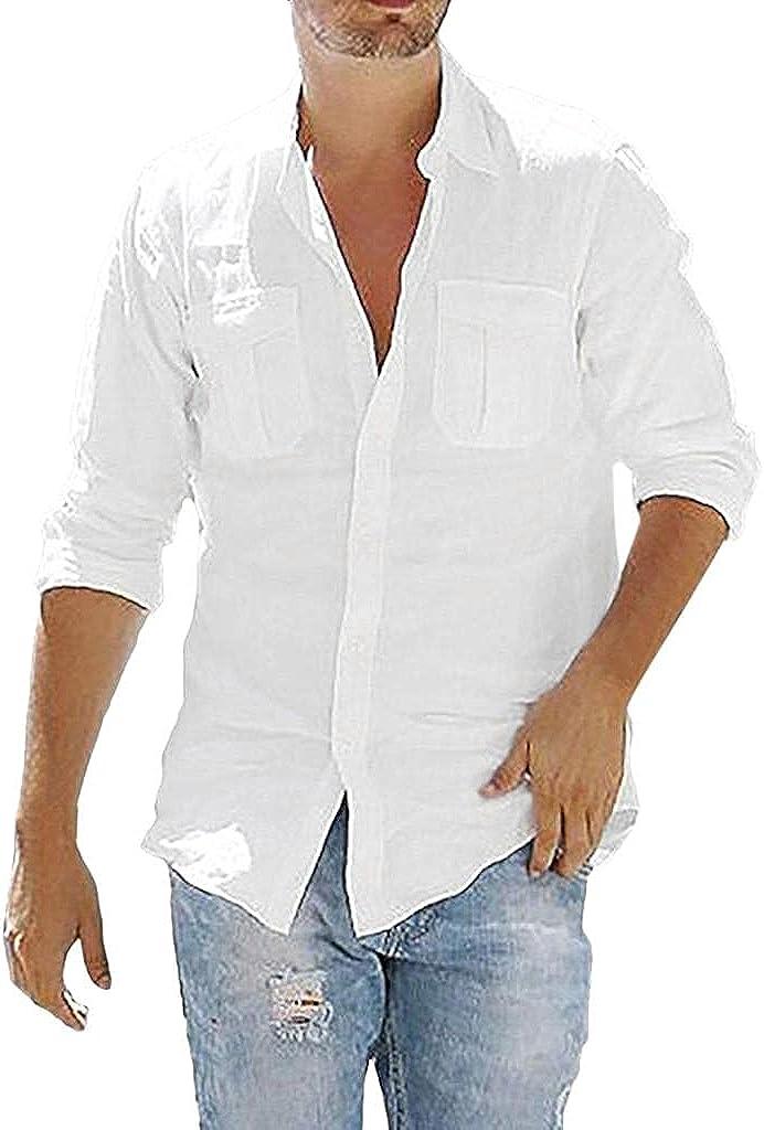 KEEYO Men Cotton Linen Henley Shirts V-Neck Roll Long Sleeve Hippie Casual Beach Yoga T-Shirts Turn-Down Collar Plain Tee
